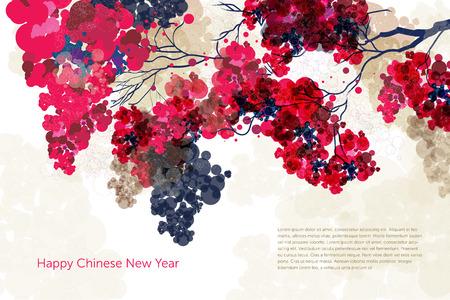 梅の花インク絵画グラフィック。幸せな中国の旧正月  イラスト・ベクター素材