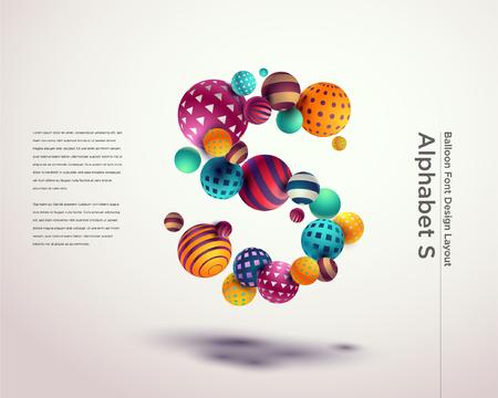 Alphabet ball font design template - S Stock fotó - 115840909