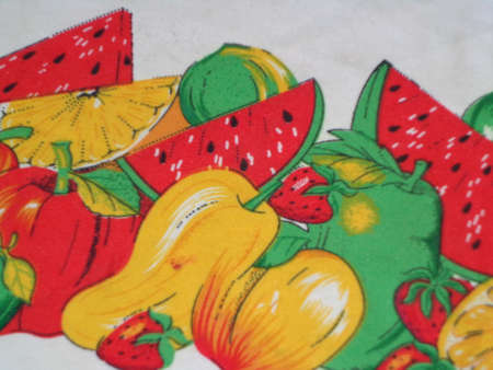 fortifying: cartoon food or pear fruit with apple green yellow red strawberry watermelon juicy and delicious cut into pieces.