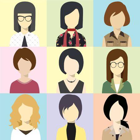 human face: women illustration avatar Vector