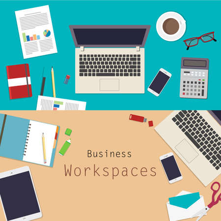 work space: business work space vector design topview