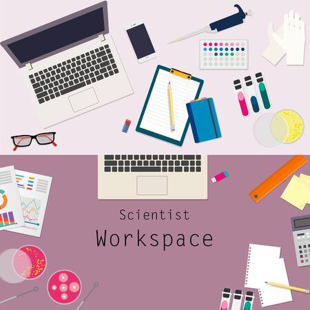 work space: scientist work space vector design topview