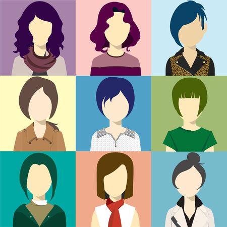 ilustración vectorial mujeres avatar