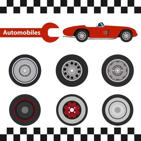 car tire: Car wheel Illustration tire set