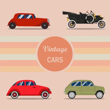 old cars: Retro cars,Vintage cars vectors