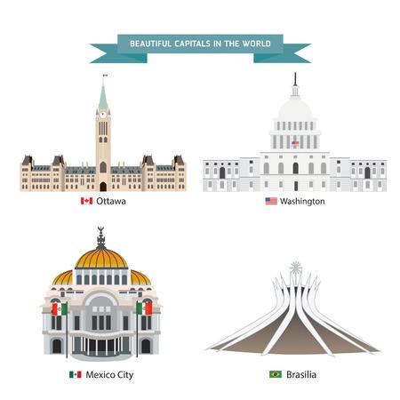 World capitals cities buildings attraction vector illustration Vektoros illusztráció