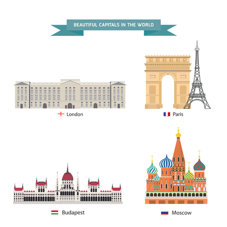 World capitals cities buildings attraction vector illustration