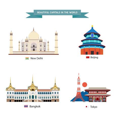 bejing: World capitals cities buildings attraction vector illustration