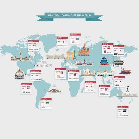 capitals: World capitals cities buildings attraction vector illustration