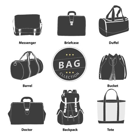 suede: Collection bags Illustration set