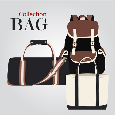 duffel: Collection bags Illustration set