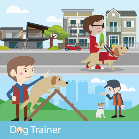 Dog trainer training vector illustration