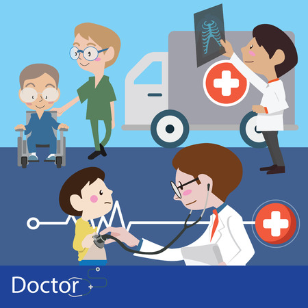 Doctors and staff illustration vector