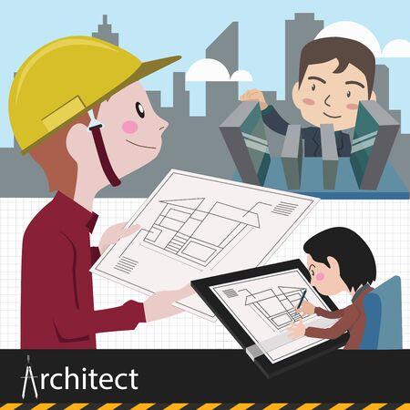 architect work project vector illustration Illustration