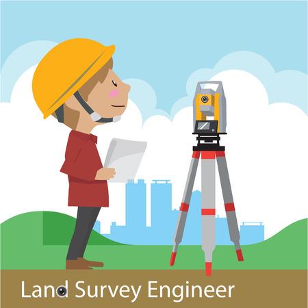 Construction civil engineering land survey engineer vector illustration Stock Illustratie