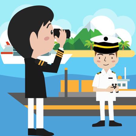 admiral: vector ship captain sailor sea Illustration