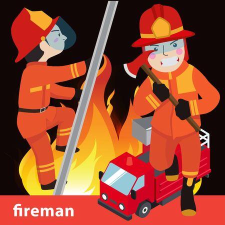 turnouts: Fireman collection vector illustration Illustration