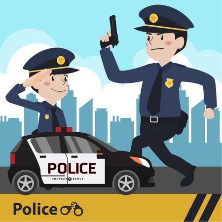 Characters police flat design vector illustration