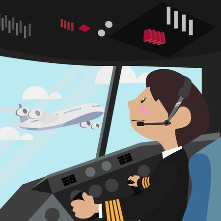 Pilot vector illustration design Flight Deck aircraft Pilots at work from the plane cockpit
