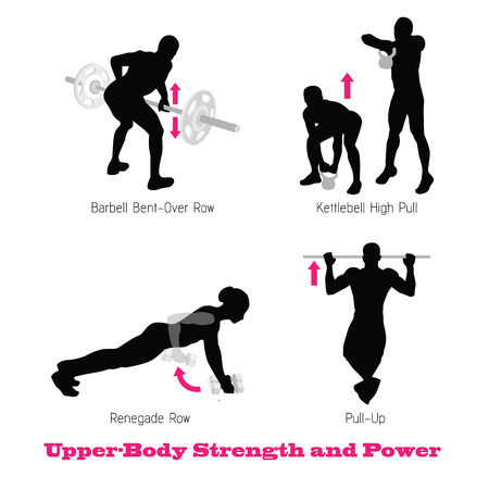 functional: excercise physical muscle silhouette illustration vector set