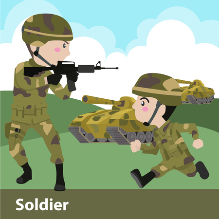battlefield: Military soldier weapon cartoon  Flat Vector Illustration