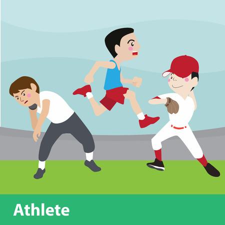 Athletic sport vector cartoon illustration set Vettoriali