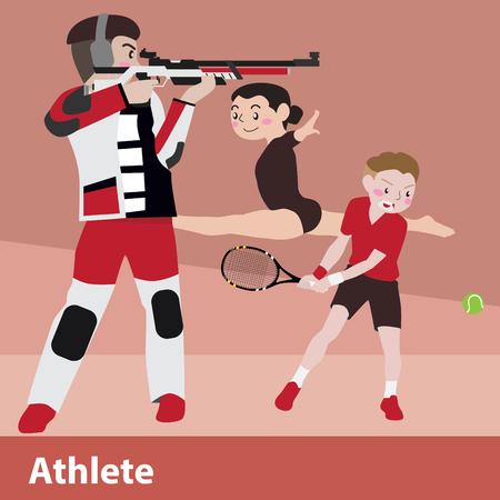 shot put: Athletic sport vector cartoon illustration set Illustration
