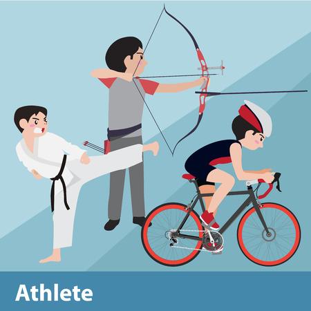 ilustración de dibujos animados del deporte atlético conjunto de vectores