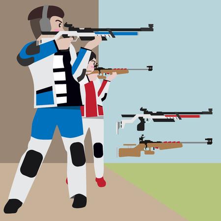 Shooting athletic sport vector cartoon illustration set Illustration