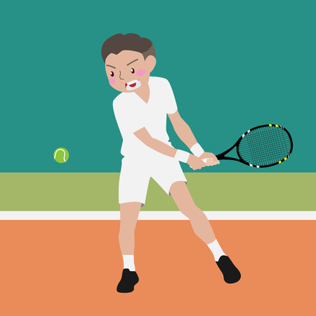 male tennis players: tennis athletic sport vector cartoon illustration set