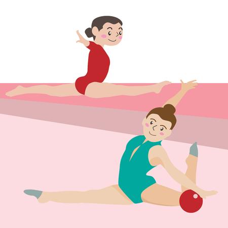 Gymnastic athletic sport vector cartoon illustration set Illustration