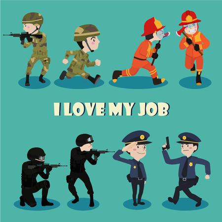 patrol: I love my job cartoon character illustration vector set Illustration