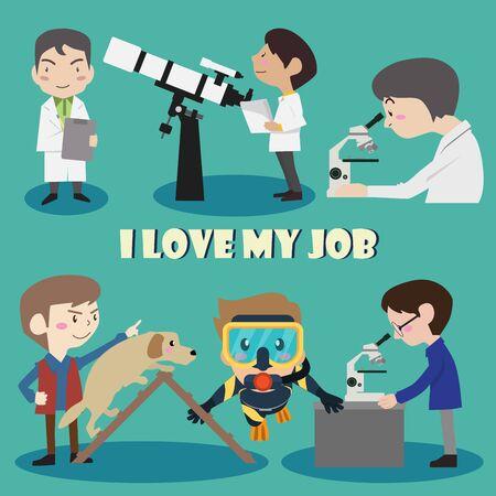 Me encanta mi personaje de dibujos animados conjunto ilustración vectorial de empleo