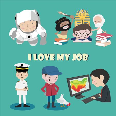 I love my job cartoon character illustration vector set Illustration