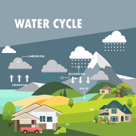 water: Water cycle information grapic illustration vecter design