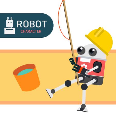 blue fish: Robot character cartoon design illustration vector collection Illustration