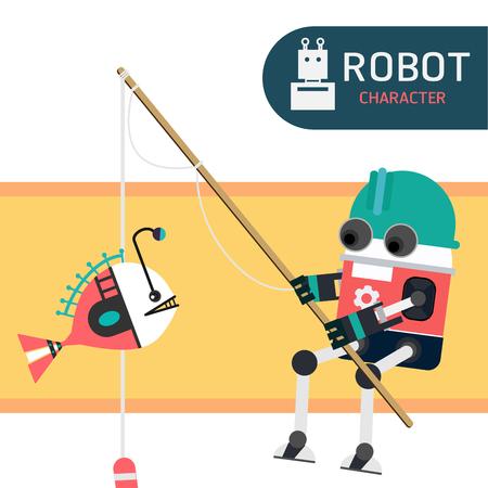 Robot character cartoon design illustration vector collection Illustration
