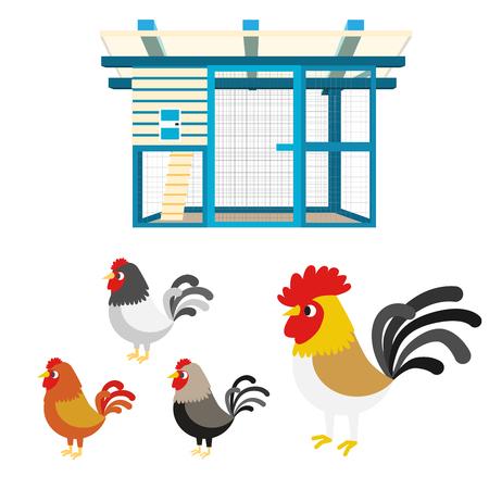 coop: Chicken coop farm vector cartoon illustration set