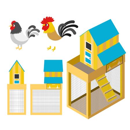 barn wood: Chicken coop farm vector cartoon illustration set