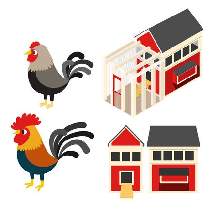 Chicken coop farm vector cartoon illustration set