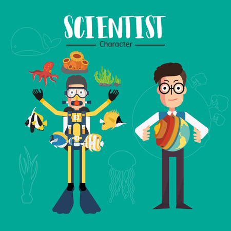 Scientist character vector illustration set