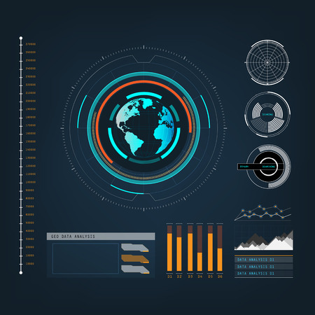 touch screen interface: future sight action mode earth interface UI  design graphic illustration