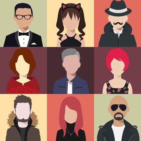 Persona avatars persone testa vari stile piano illustrazione vettoriale stile. Vettoriali