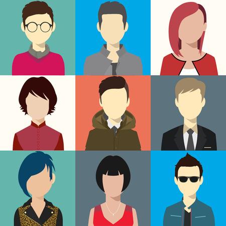 person avatars people heads various style flat illustration style Vector.