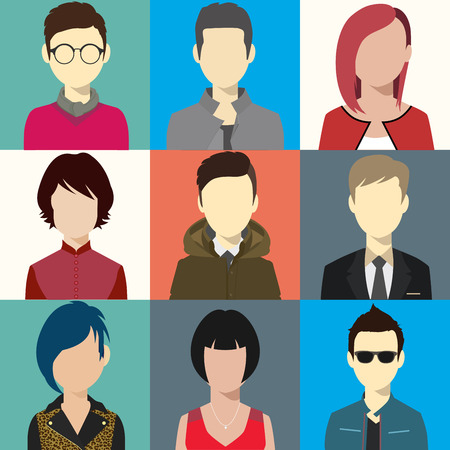 person avatars people heads various style flat illustration style Vector.