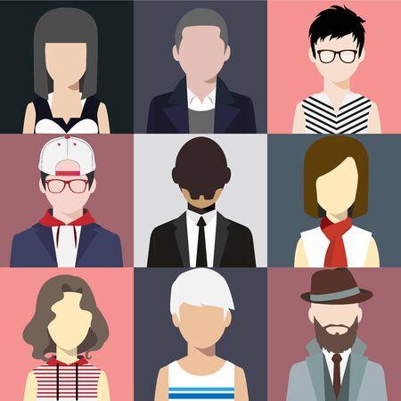 person avatars people heads various style flat illustration style Vector. Vektorové ilustrace