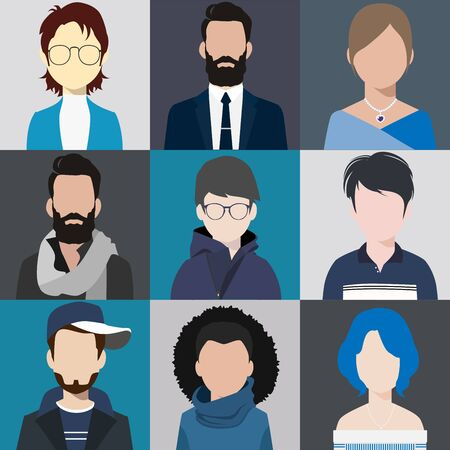 person avatars people heads various style flat illustration style Vector. Vetores