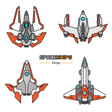 플랫 스타일로 설정된 우주선 항공기 디자인 벡터 일러스트