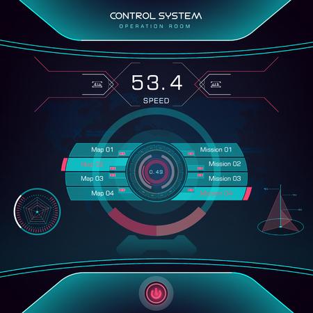 Future sight action mode  interface UI design graphic illustration