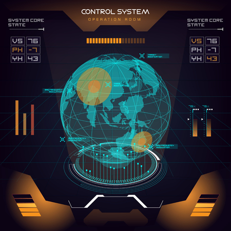 A future sight action mode earth interface UI design graphic illustration HUD Vectores